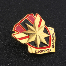 2019 Movie Captain Brooches Golden Color Logo Enamel Pin Earth Avengers Endgame Badge Medal Jewelry Gift