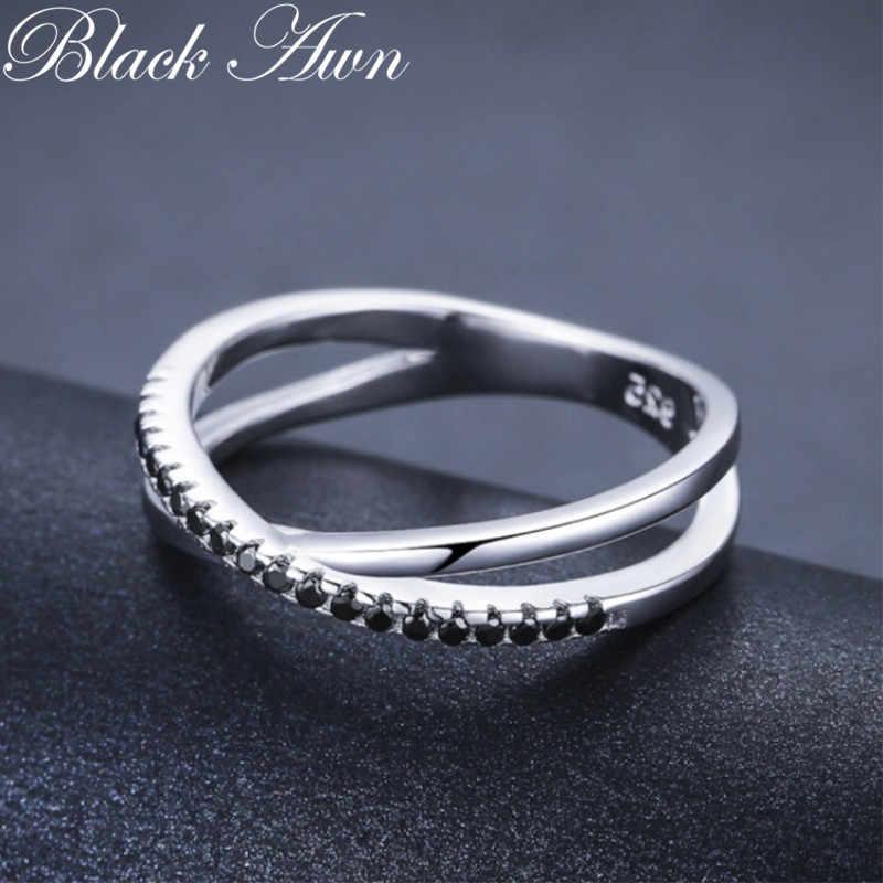 Casual 2G 925 เงินสเตอร์ลิงเครื่องประดับอินเทรนด์หมั้น Bague สีดำ Spinel Leaf สตรีงานแต่งงานแหวน Bijoux Femme GG009
