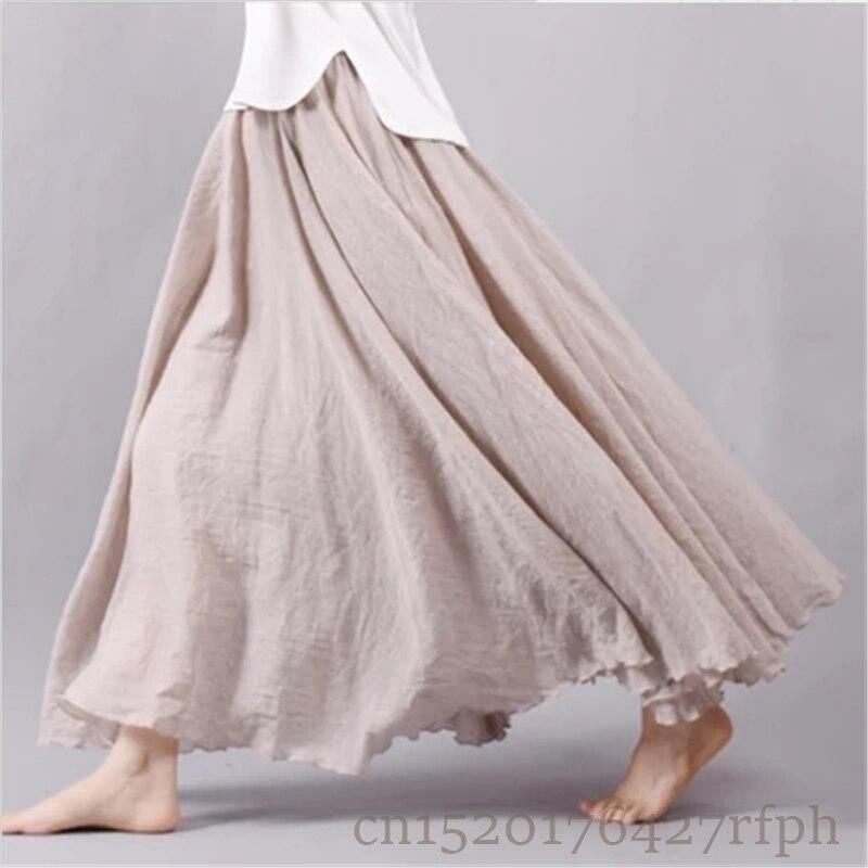 2018 Women Cotton Linen Long Skirts Elastic High Waist Pleated Maxi Skirts Beach Boho Vintage Spring Summer Skirts Faldas Saia