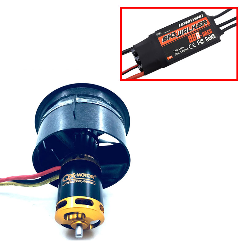 купить QX-MOTOR DIY Drone 64mm EDF Set 2822 3800KV Brushless Motor with 12 Blades Ducted Fan With 80A esc for RC Airplane Model Parts по цене 3296.12 рублей