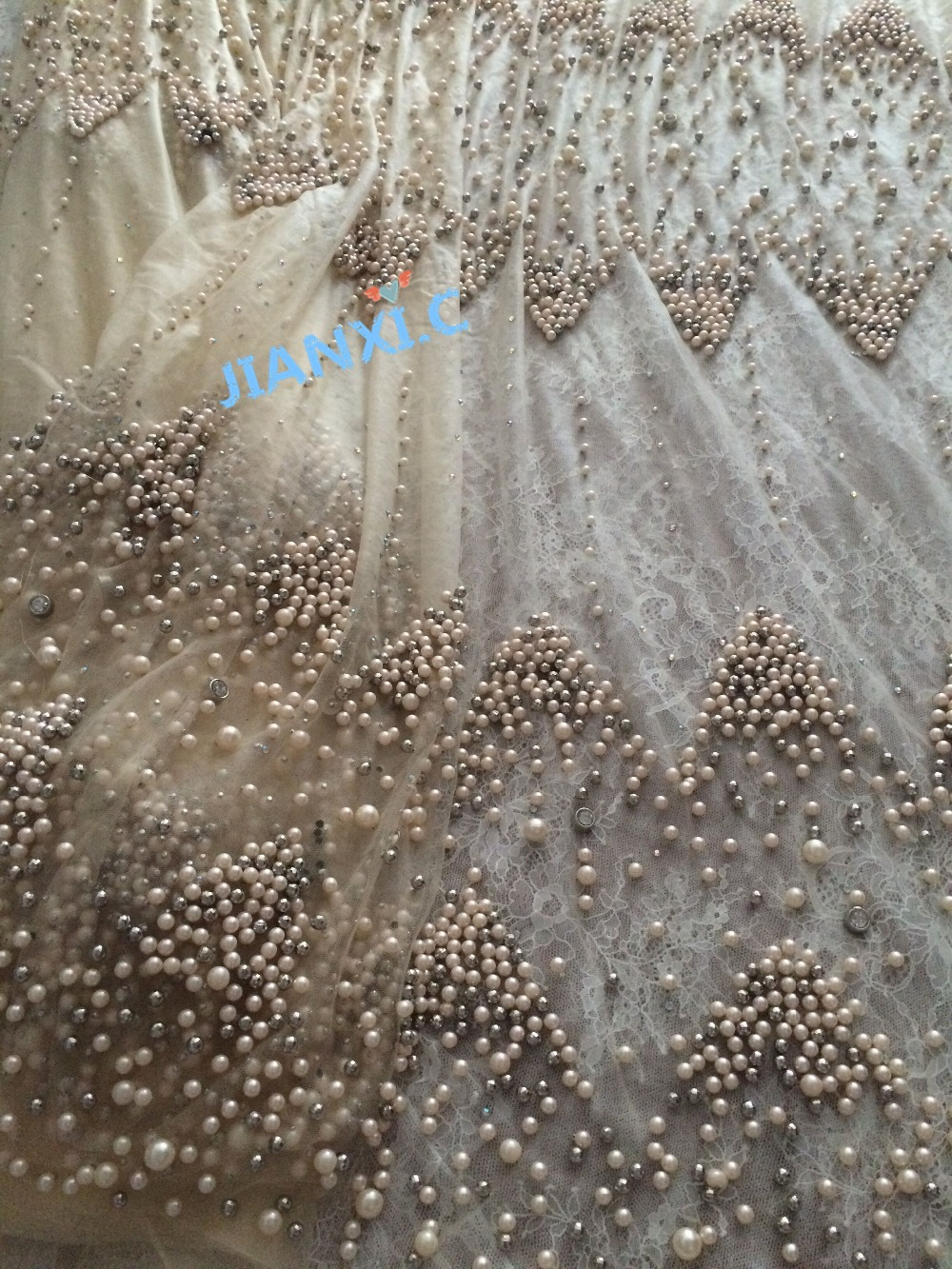 full beaded embroidered tulle lace fabric french net lace fabric CiCi 72801 for bridal dress
