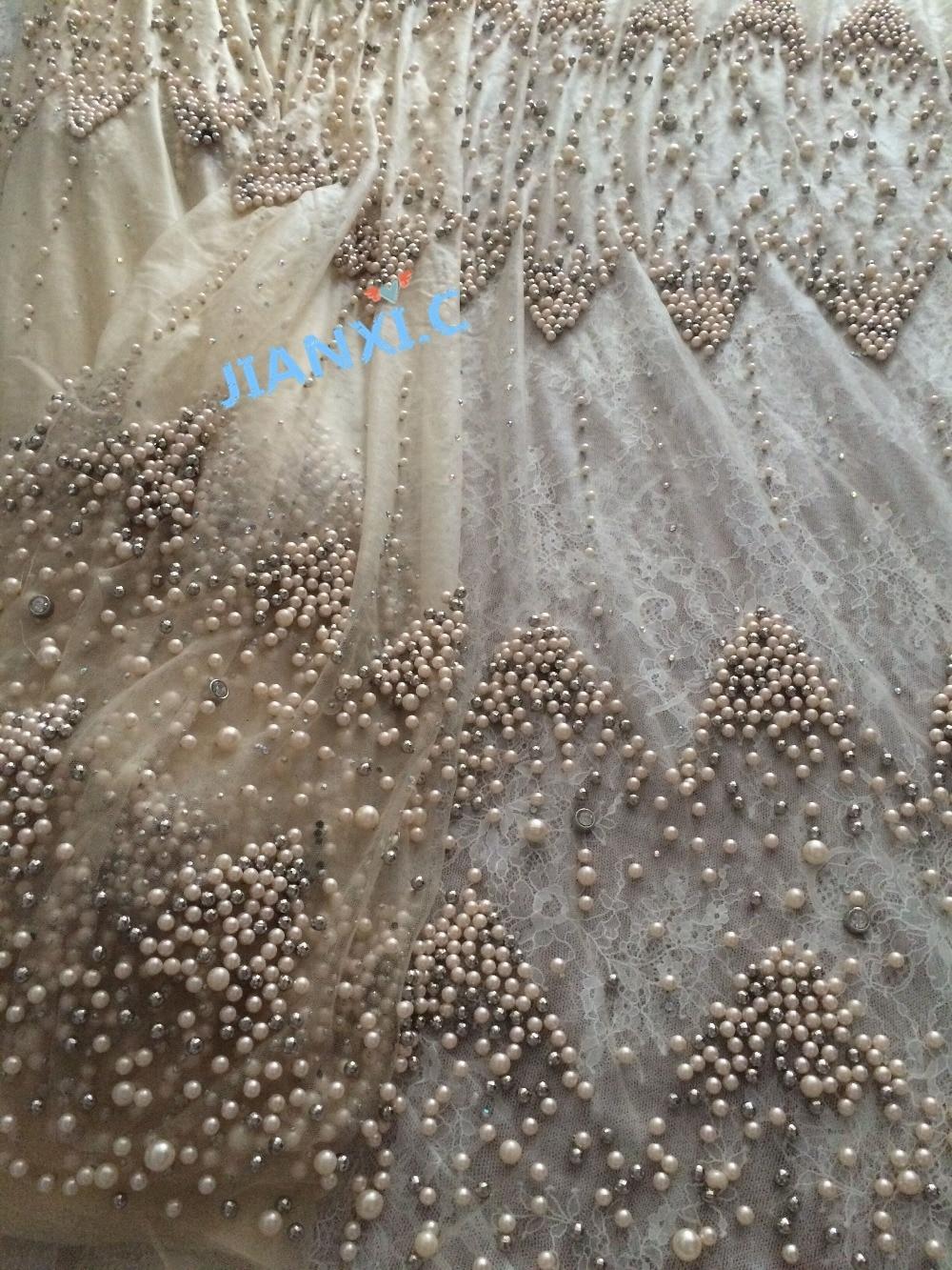 Tela de encaje de tul bordado con cuentas completas tela de encaje de red francesa CiCi 72801 para vestido de novia-in encaje from Hogar y Mascotas    1