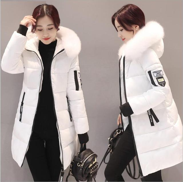 2018 women hooded warm coat winter jackets Big fur collar hats long parka cotton padded jacket female womens wadded plus size