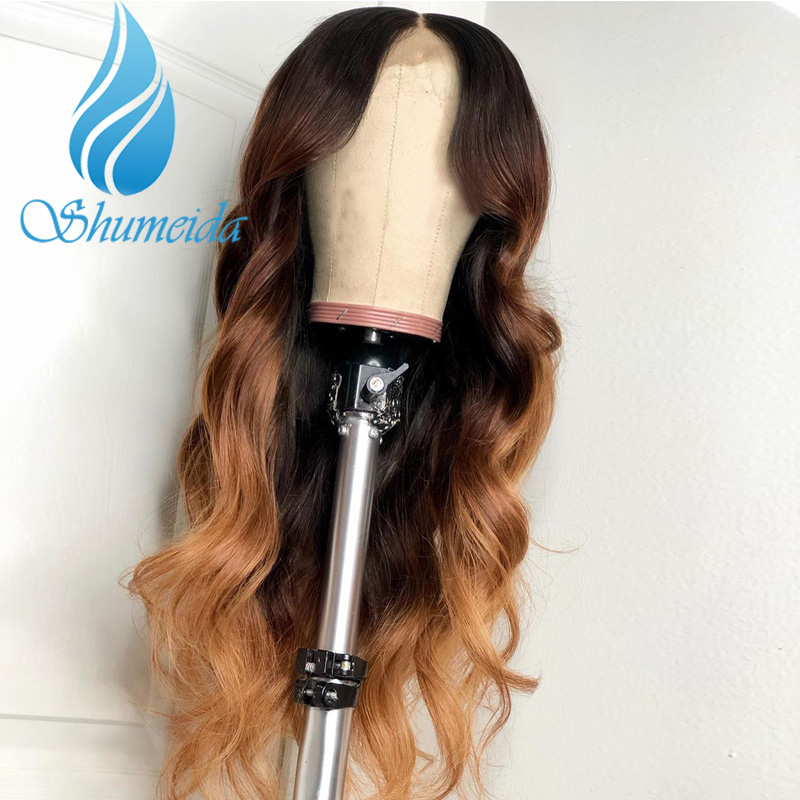 SHD Brazilian Body Wave Lace Front Wigs with Baby Hair Ombre Color Glueless Full Lace Wig Pre Plucked Hairline Human Hair in Human Hair Lace Wigs from Hair Extensions Wigs