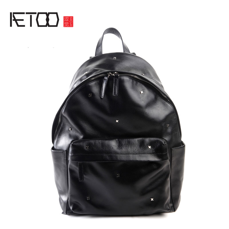 AETOO Pure leather original personality fashion shoulder bag leather Europe and the United States and South Korea leisure backpa aetoo pure leather europe and the united states japan and south korea fashion retro bag leather leather casual daily travel back