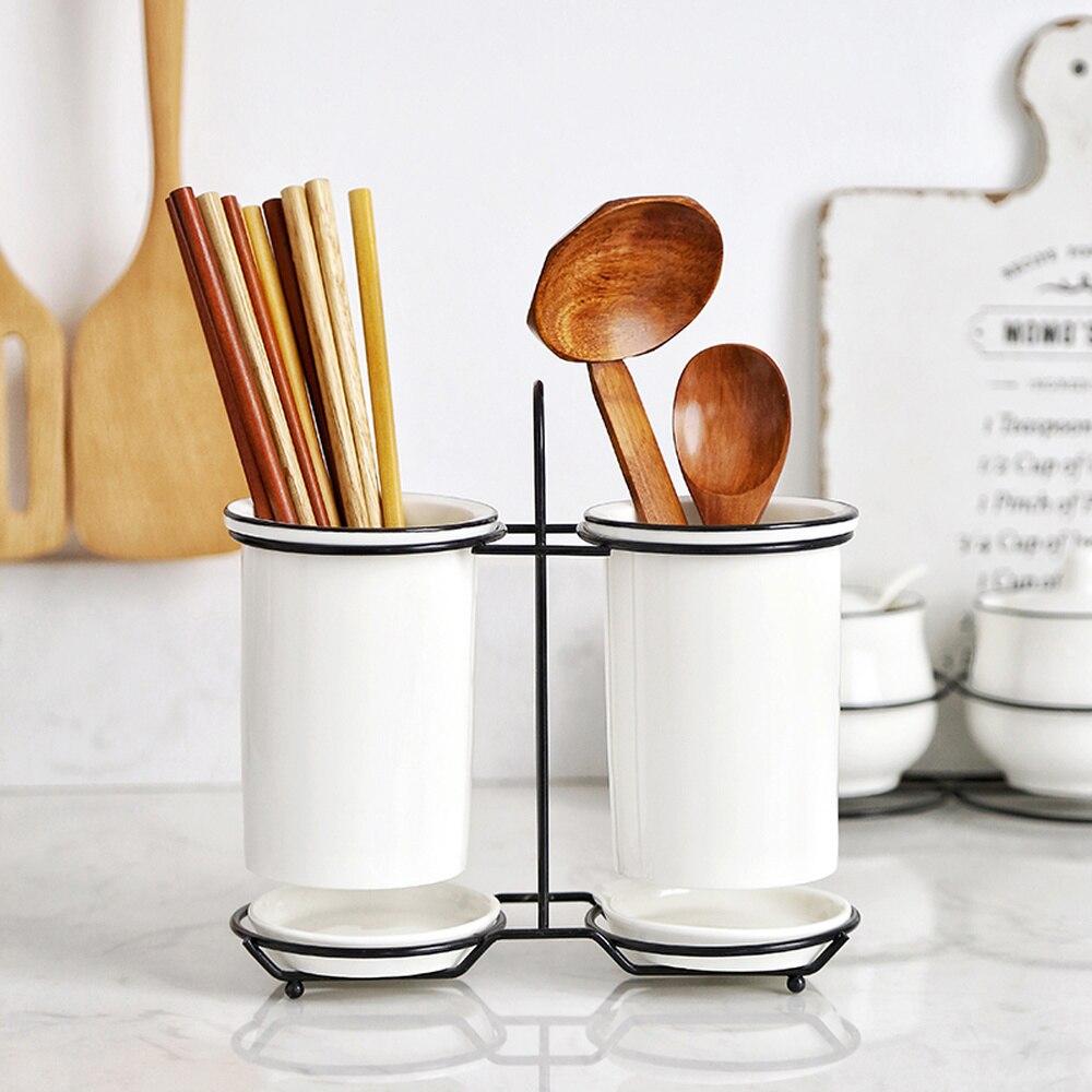 Ceramic Chopsticks Tube Drain Chopsticks Rack Kitchen Cutlery Storage Rack Chopsticks Cage Wx9081609