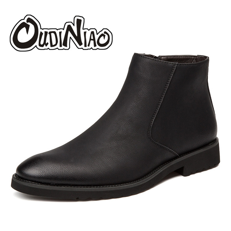 OUDINIAO Spring British Fashion Classic Pointed Toe Ankle Men Boots Sewing Vintage Zip Design Casual Solid Boots Men Black