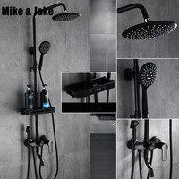 Чистый черный набор для душа с биде душ Ванная комната термостатический комплект черный ванной черный Биде набор для душа MJ9889