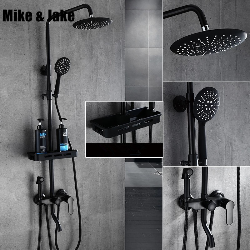Preto puro conjunto de duche com bidé bidé chuveiro chuveiro do banheiro chuveiro termostática Banheira preta preto conjunto MJ9889