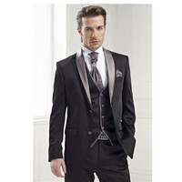 Tốt nhất hợp với nam giới cho màu xám groom tuxedo ăn mặc người đàn ông người đàn ông tốt nhất phù hợp với kinh doanh bình thường phù hợp với tùy chỉnh (áo + quần + tie + vest)