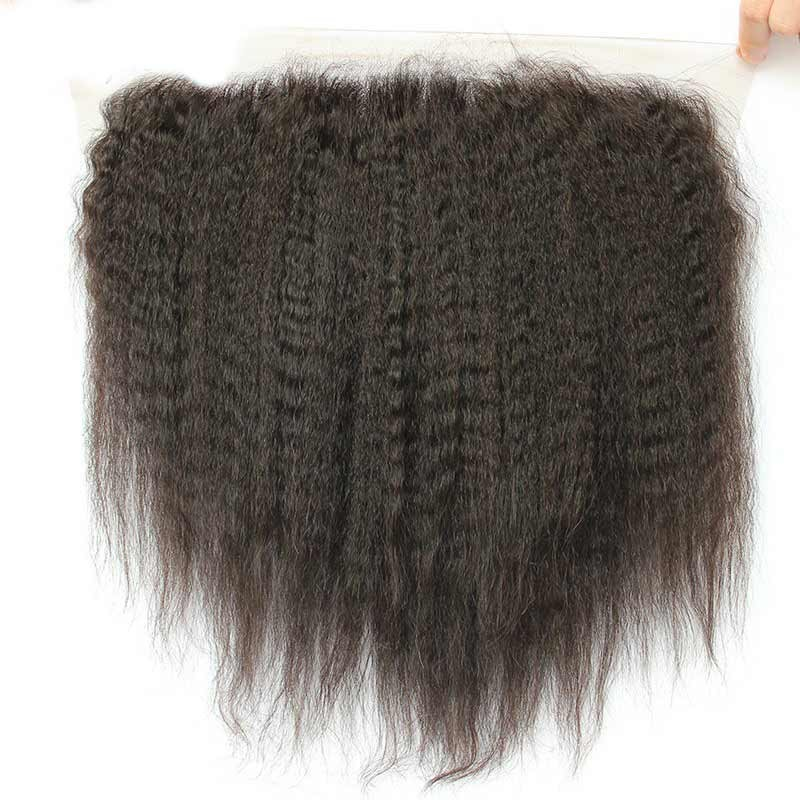 13x6 Kinky Straight Lace Frontal Closure 100% Brazilian Human Hair Pre Plucked With Baby Hair Deep Part Natural Black CARA Remy