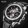 Megir Mens Chronograph Luminous Quartz Watches Fashon Mans Analog Round Dial Leather Strap Waterproof Wristwatch for Male 2019