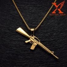 24″ 3mm Hip Hop AK-47 Machine Gun  Gold Over Stainless Steel Mini Charm Pendant Necklace Box Chain