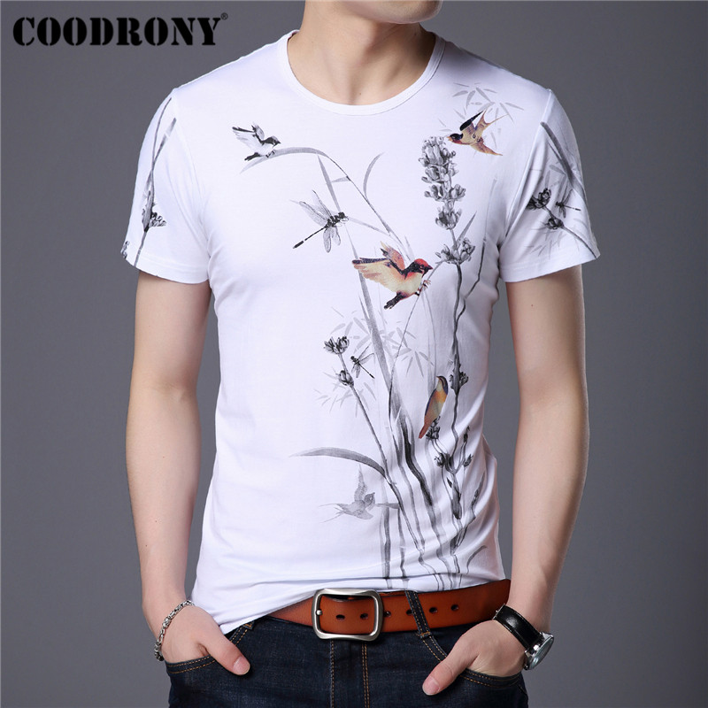 COODRONY Chinese Style Flower And Bird Painting T Shirt Men Summer Casual Short Sleeve T-Shirt Men O-Neck Tee Shirt Homme S95105