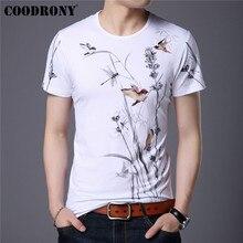 COODRONY النمط الصيني زهرة و الطيور اللوحة تي شيرت الرجال الصيف عادية تي شيرتات قصيرة الاكمام الرجال س الرقبة تي شيرت أوم S95105