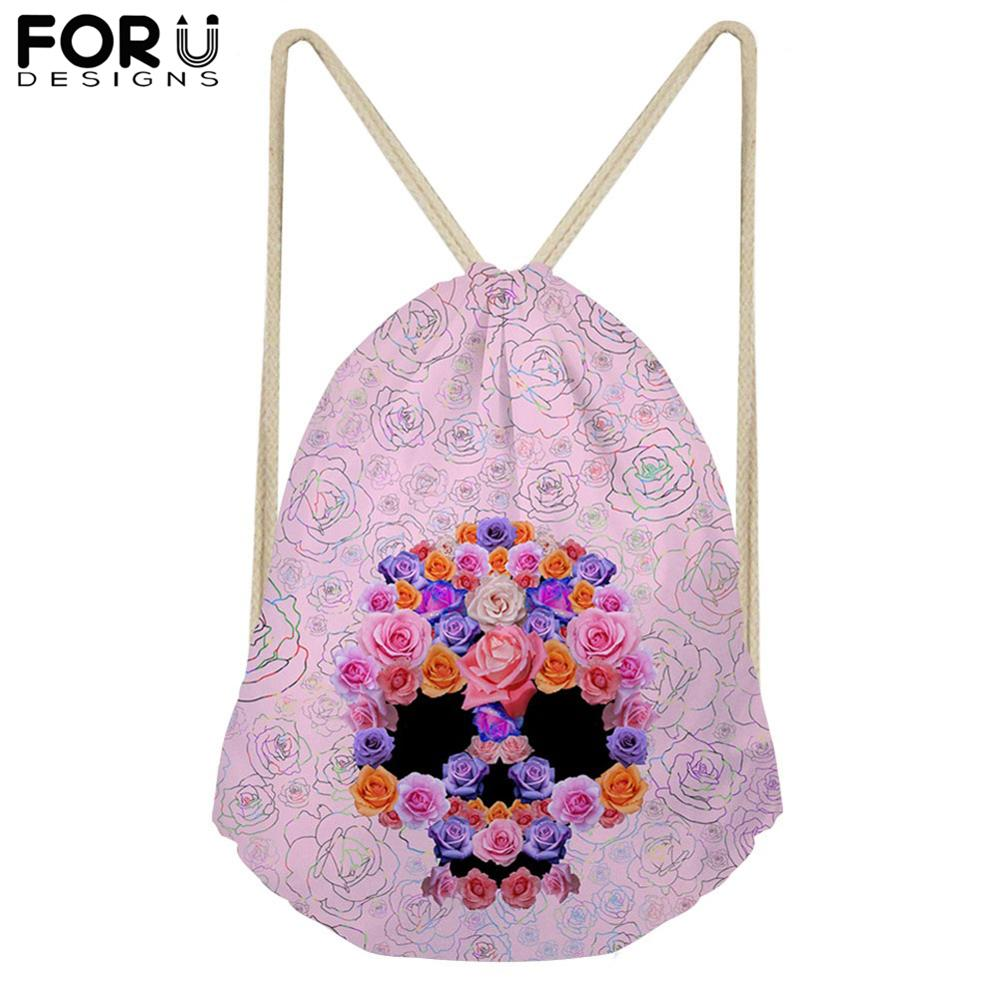 FORUDESIGNS Cool Skull Flower Backpack Drawstring Bag Small Travel Storage Package Kids Boys String Shoulder Bags Children