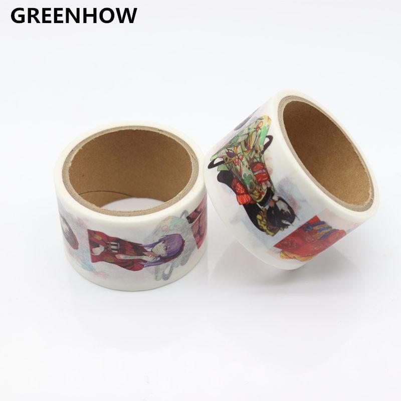 Купить с кэшбэком GREENHOW Girls Pattern Japanese Washi Decorative Adhesive DIY Masking Paper Tape Sticker Label 9002