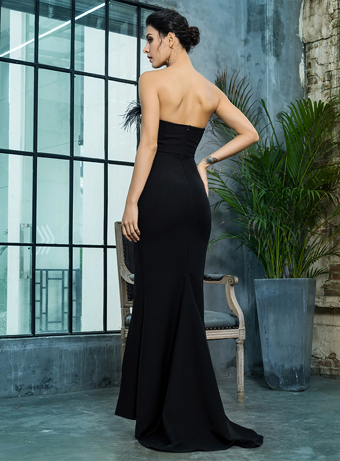 Black Strapless Cut Out Feather Long Dress 10