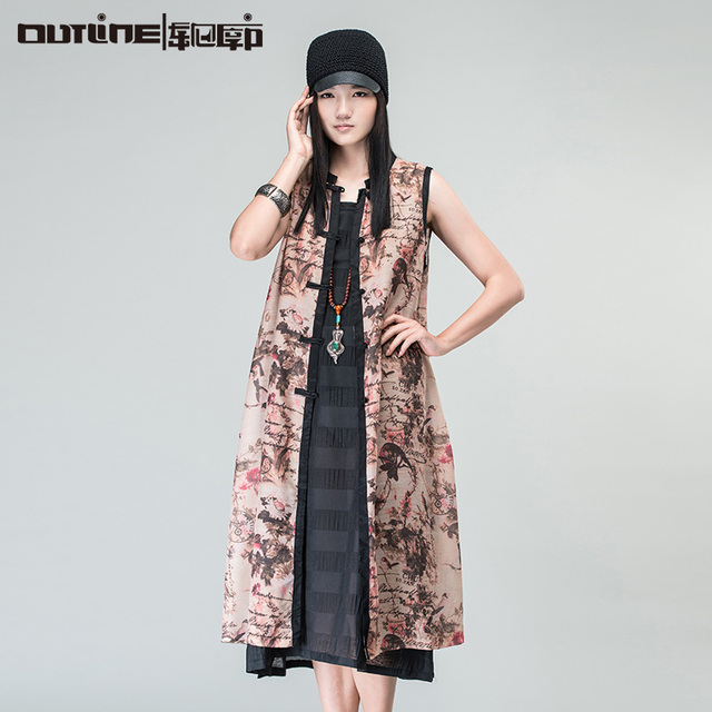 Outline Brand Chinese Style Vests In Women Loose Fashion Long Cardigan Spring Summer Print Coat Women Long Vintage Vest L162Y008