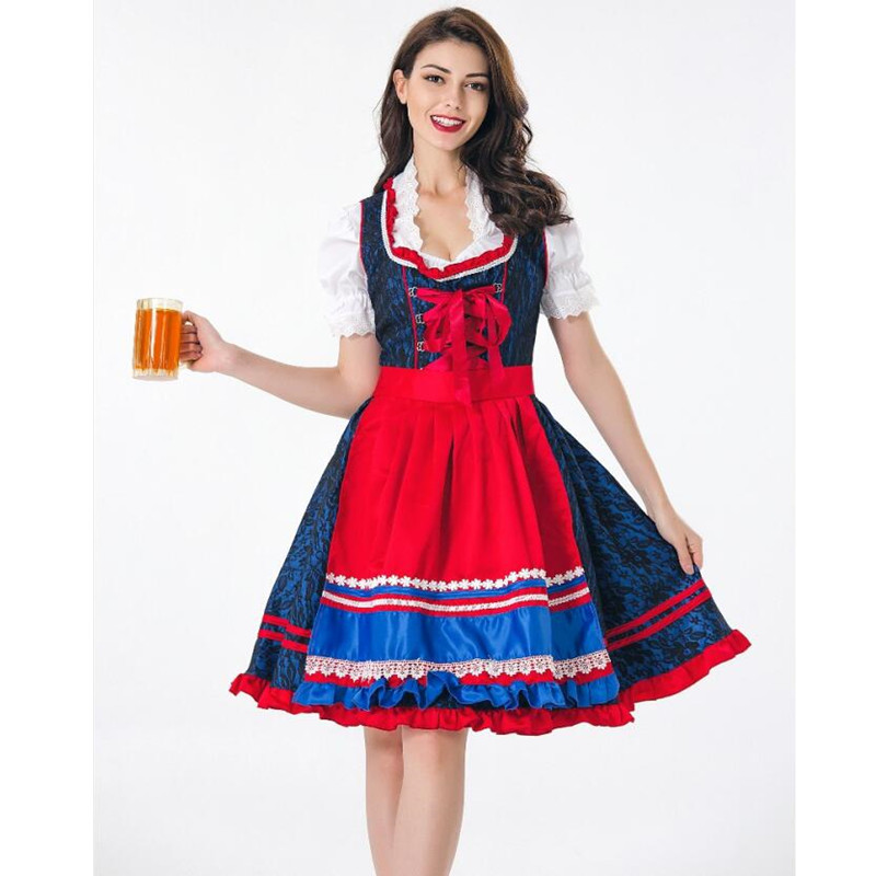 Adult Women German Oktoberfest Costume Sexy Bavaria Beer Girl Uniform Erotic Fancy Dirndl Wench Dress Z7193
