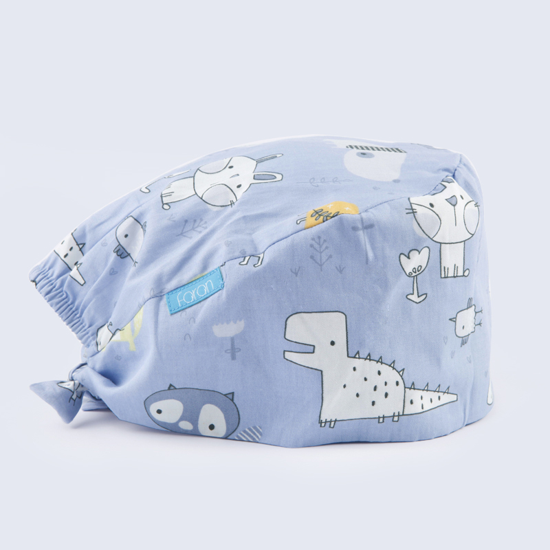 Unisex Dinosaur Print Scrub Cap Medical Work Hats Tieback Adjustable Surgical Caps 100% Cotton Dentist Medicine Hat Cheap