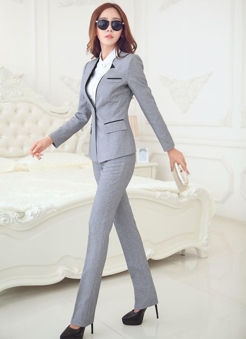 7a81df9828e63 Women Business Suits 2019 Fashion Women's Pants Suit Slim Suit Jackets with  Pants Office Ladies Formal OL Pants Work Wear Sets