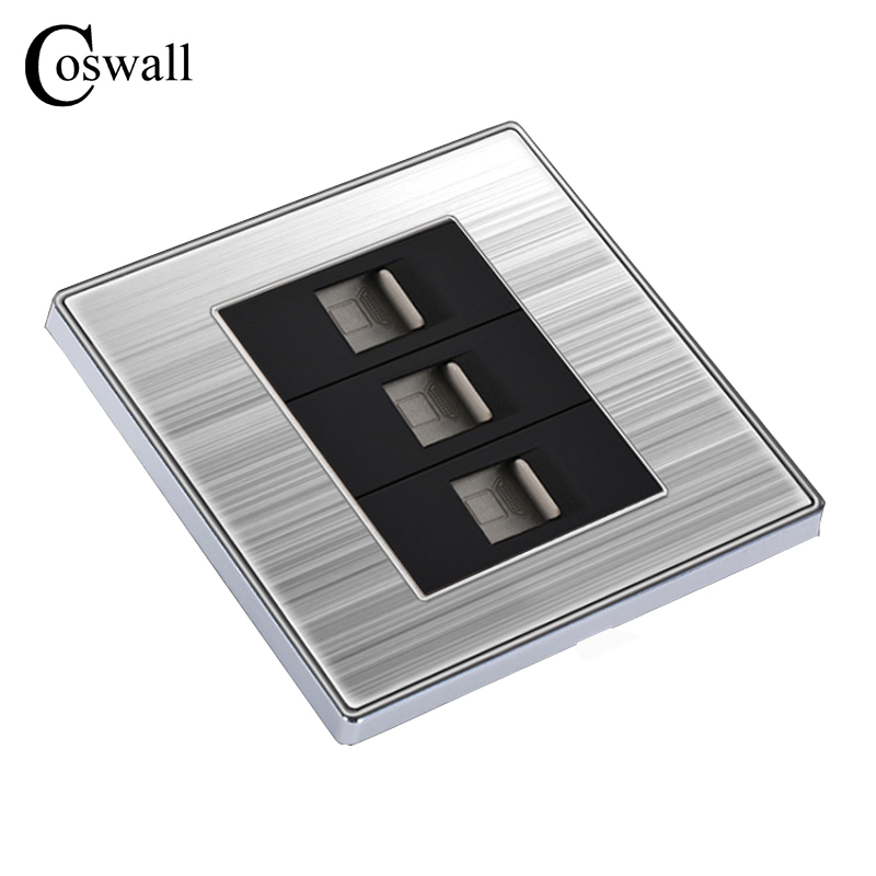 COSWALL Luxury Wall Triple Internet Socket Power Computer Outlet Enchufe Stainless Steel Brushed Silver Panel RJ45 Plug Soquete