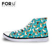 FORUDESIGNS Kids Beagles Printed Flats Fashion Child Girls Boys High Top Canvas Shoes Students Breathable Mesh Sneakers Zapatos