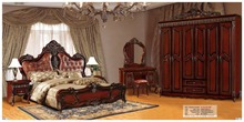 modern european solid wood bed Fashion Carved leather french bedroom set furniture king size HC0053