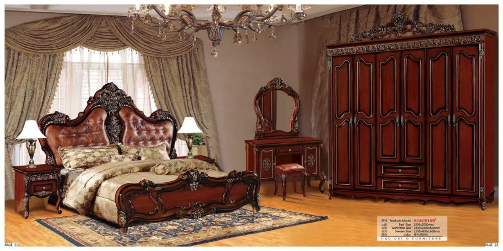 modern european solid wood bed Fashion Carved  leather  french bedroom set furniture king size HC0053modern european solid wood bed Fashion Carved  leather  french bedroom set furniture king size HC0053
