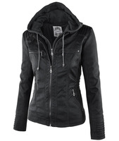 Europe And The United States Removable Lapel Long Sleeves Solid Color Zipper Women S Leather Jacket