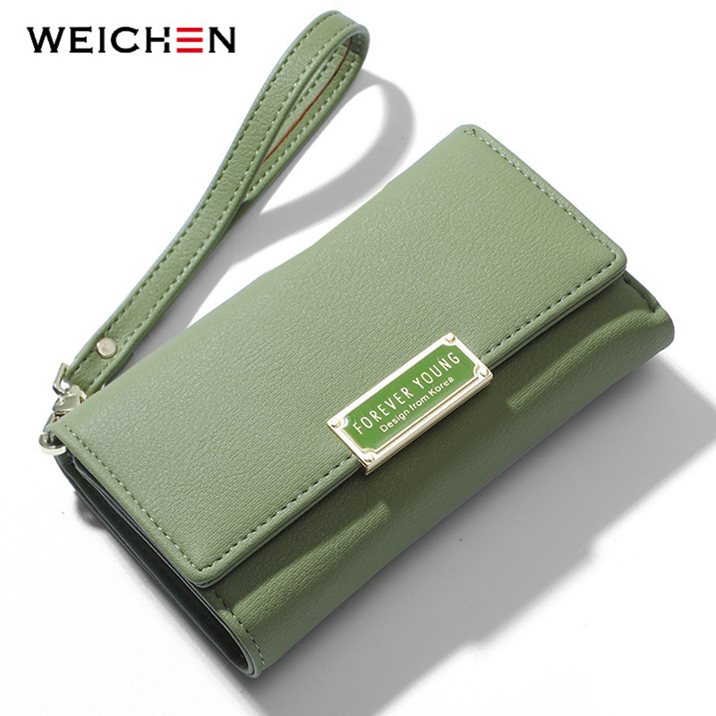 WEICHEN Wristband Women Clutch Wallet Trifold Many Department Wallets Female Purse Lady Purses Coin Pocket Card Holder Carteras