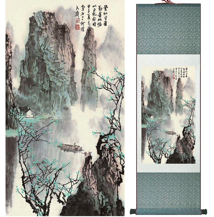 Mountain and River painting Chinese scroll painting landscape art painting home decoration picture 041714