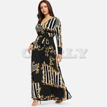 CUERLY Plus Size Black Mixed Print Striped Casual Dress Women 2019 Spring Fashion Long Sleeve A Line High Waist Maxi Dress plus mixed print high low tee