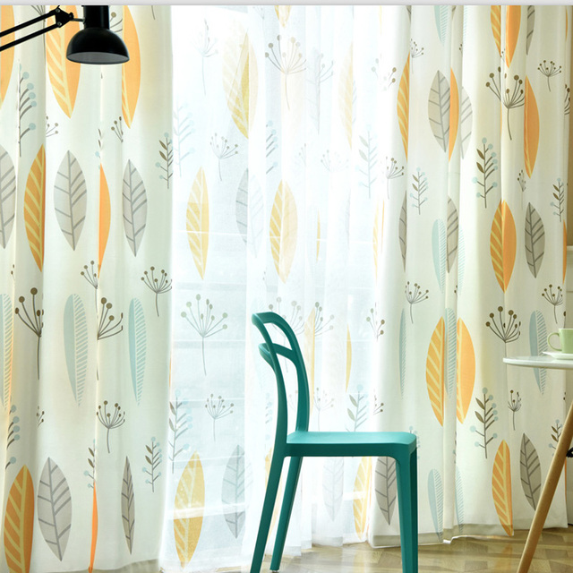 Curtains For Yellow Living Room Decorating Ideas Green Couch Simple Nordic Plant Personality Bedroom Window American Leaves Children Fabric Drapes