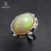 Tbj, высочайшее качество Эфиопский Опал овал 10*14 мм 5ct до natual красочные опал камень кольцо стерлингового серебра 925 пробы для женщин с коробкой