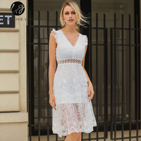 Lily Rosie Girl Sexy Blackless V Neck Women White Dresses Lace Sleeveless Hollow Out Empire Summer