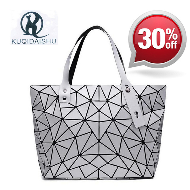 2018 Summer Bao Top-Handle Bags Japan Fashion Brand Hologram Shoulder Bag Women Bags Big Messenger Handbag bolsa feminina Silver