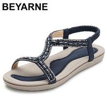 BEYARNE sandales plates pour femmes, tongs, chaussures dété, style bohème, avec perles de cristal légères, tong de plage, collection décontracté