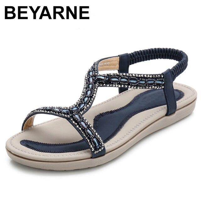 Beyarne verão mulher gladiador apartamentos sandálias mulher casual bohemia luz cristal talão flip flop sandálias de praia do sexo feminino