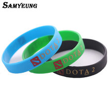 Game DOTA 2 Rubber Bracelets Bangles for Best Friend Dota2 Bracelet Men Braclet Women Braslet Male Black Green Blue Color(China)