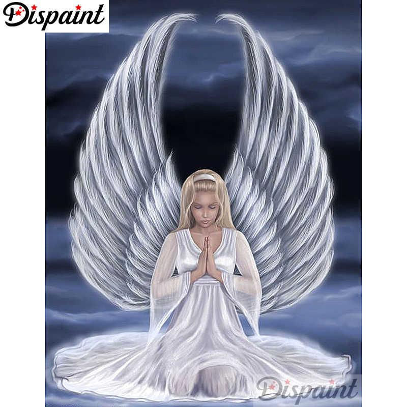 """Dispaint полный квадратный/круглый дрель 5D DIY Алмазная картина """"Ангел девочка пейзаж"""" вышивка крестиком 5D домашний декор A10263"""