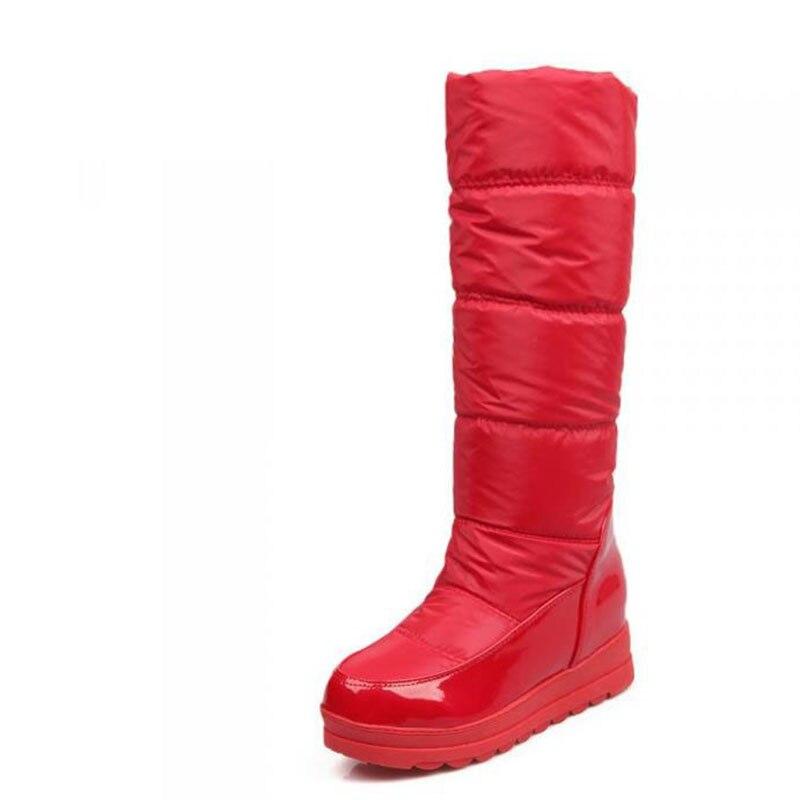 b67e45248cd De Algodón Impermeable Alta Blanco rojo Inferior Antideslizante blanco  Cálido azul Botas Zapatos Añadir Lana Invierno Negro ...
