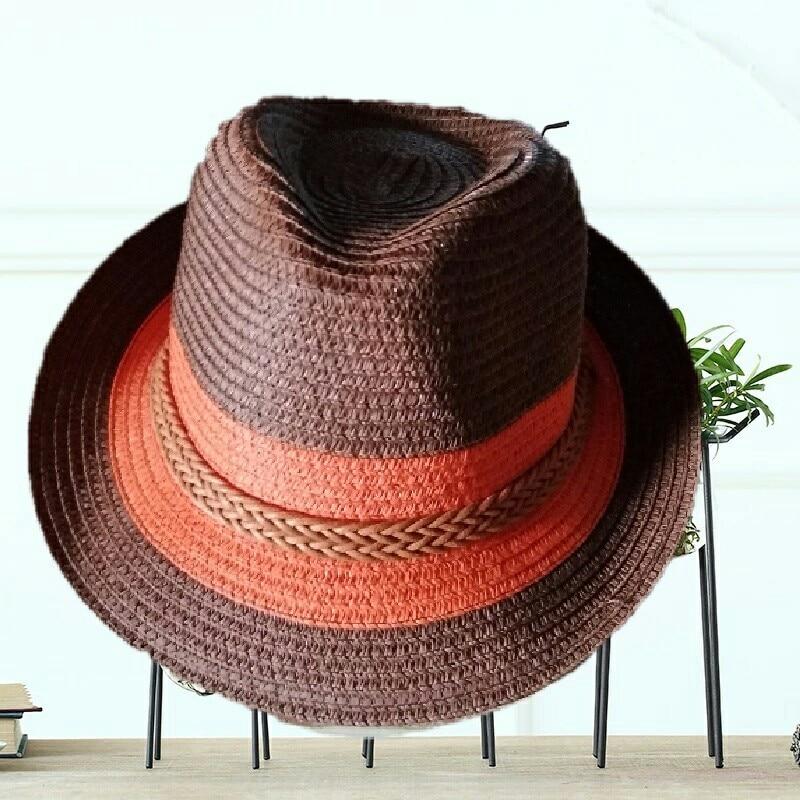 Summer Jazz Women Straw Hat Beach Men Sun Hat Casual Panama Male Cap Hemp  Rope Patchwork 14b6ad39c57f