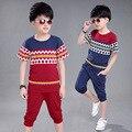 Мальчик плед набор детей детские спортивный костюм наряды футболки шаровары бриджи подростков наборы больших мальчиков летней одежды набор
