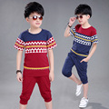 Boy plaid set kids children sports suit outfits t shirts harem breeches teenage boys sets big boys summer clothes set