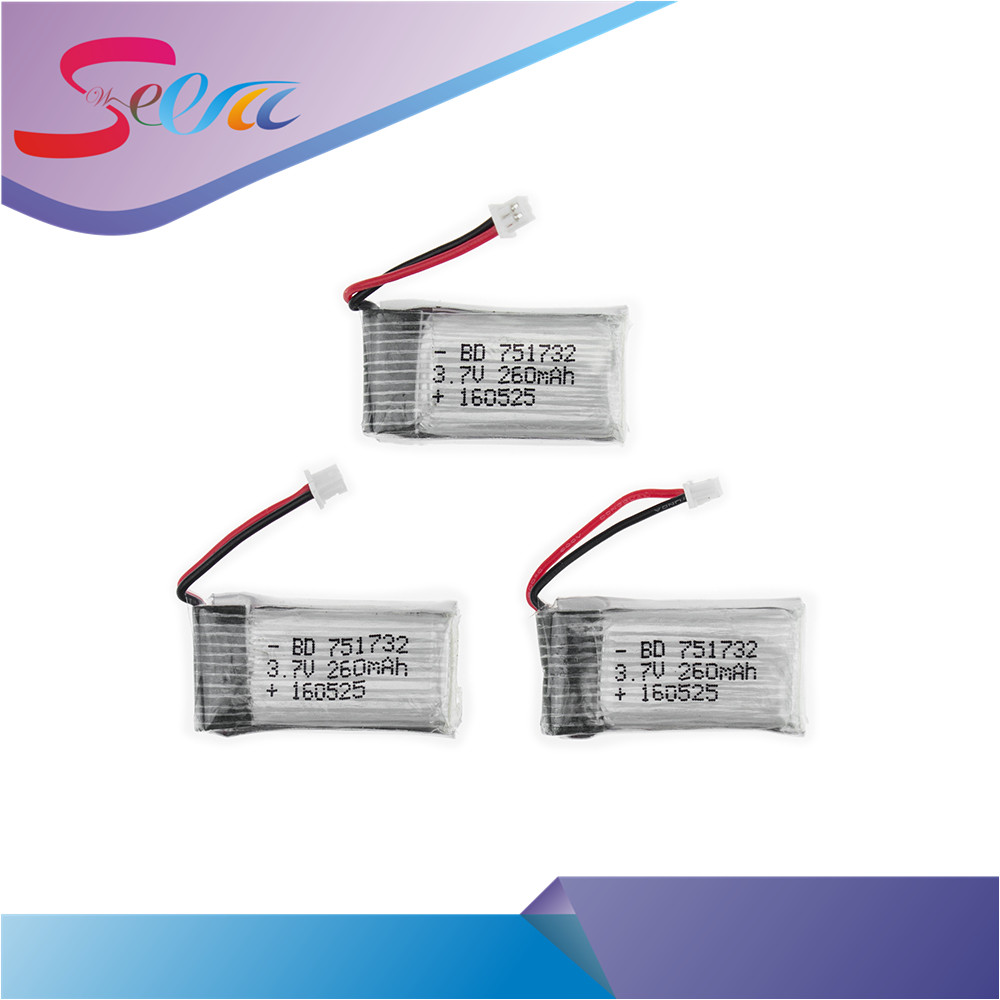 3pcs 3.7V 260mAh Li-po Battery For JJRC H20 RC Quadcopter drone parts 3pcs 3 7v 900mah li po battery 3 in 1 black us regulation charger and charging cable for rc xs809 xs809hc xs809hw drone