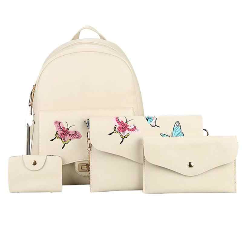 4 Pcs/set Musim Gugur Butterfly Bordir Fashion Wanita Santai Tas Wanita Tas Bahu Tas Messenger Satchel Set