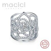 Новинка 2017 года полые цветок кольцо из натуральной 925 серебро с AAA циркония кольцо Anillo Grande for Для женщин широкая полоса Кольца hy-rd0045