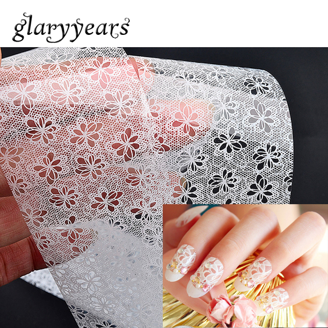 11 Designs 1 Piece Wedding White Flower Lace Nail Transfer Sticker DIY Art Wrap Decal